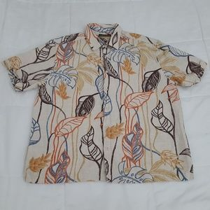 Cubavera Casual Camp Shirt Mens XXL Tan Linen